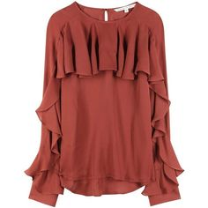 Veronica Beard Mia Silk Top ❤ liked on Polyvore (see more red silk tops)