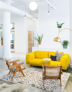 bright yellow sofa