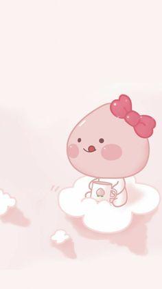 Peach Wallpaper, Cute Pastel Wallpaper, Cute Anime Wallpaper, Cute Cartoon Wallpapers, Wallpaper Iphone Cute, Apeach Kakao, Cute Easy Drawings, Kakao Friends, Cartoon Girl Drawing