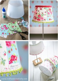 Lampskärmar med ny look - Pysseltips - Make & Create Diy And Crafts Sewing, Diy Crafts, Lamp Shade Crafts, Home Crafts, Diy Home Decor, Cottage Lighting, Creation Couture, Diy Décoration, Lamp Shades