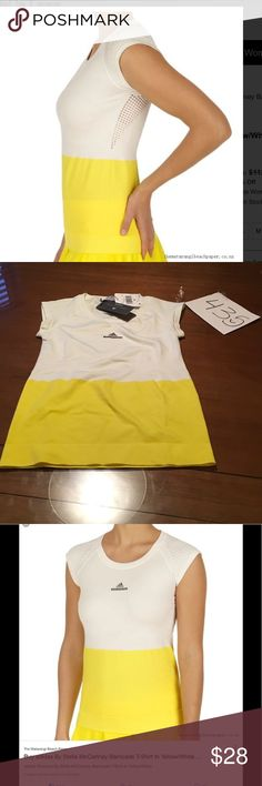 adidas Womens By Stella McCartney Barricade Tee 435) Adidas By Stella Mccartney Barricade Product Type : T-Shirt Gender : Women Available Colour : Yellow,White Material : 65% Polyester 27% Polyamid / Nylon 8% Elastane Adidas by Stella McCartney Tops Tees - Short Sleeve