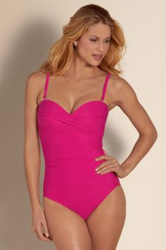 Curvy ladies surely will adore this come-hither Miraclesuit one-piece - so sizzling-hot and ultra-slenderizing thanks to innovative Miratex® fabric that supports, shapes and smoothes the body with three times as much lycra as other swimwear fabrics. You'll instantly look like you lost 10 pounds!