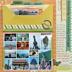 Create pocket pages to add your travel mementos in one spot. #wermemorykeepers #envelopepunchboard #scrapbooking