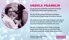 Distinguished scientist and activist, Ursula Franklin. University Of Toronto, Research Paper, Ursula, Professor, Physics, How To Become, Engineering, Study, Author