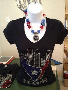Houston Texans shirt. $35.00, via Etsy. Texas Texans, Houston Texans Football, Football Team, Bulls On Parade, Houston Skyline, Rhinestone Shirts, My Style, Jj Watt, How To Wear