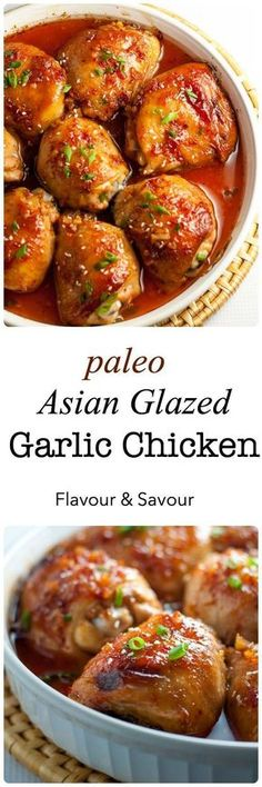 This Paleo Asian Glazed Garlic Chicken is so easy! Tender, juicy chicken thighs glazed with an Asian-inspired sauce with a little heat and hints of garlic, sesame and ginger. #garlic #sesame #ginger #chicken #Asian #paleo