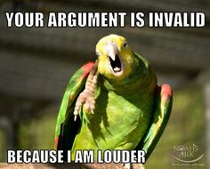 Your argument is invalid because I am louder. And a parrot. ;)