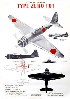 "Ref. No. 953. IDENTIFICATION POSTER FOR A6M ZERO. July 1942. Original WWII poster made in the U.S. Wording at top reads: ""Japanese Fighter Type Zero (""0"")."" At bottom of poster it reads: ""Identification Poster . . No. 3 7/42 D.I.T.-A.A.F.- Identification Unit. From Data currently available. Restricted. U.S. Government Printing Office; 1942-O-477937."" Poster image from http://www.warbirdsite.com of New Zealand, a website worth visisting."