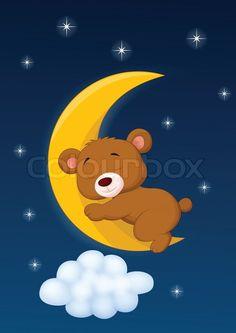 Stock vector of 'Vector illustration of Baby bear cartoon sleeping on the moon' Art Drawings For Kids, Colorful Drawings, Drawing For Kids, Cute Drawings, Good Night Gif, Good Night Moon, Moon Illustration, Star Quilt Patterns, Bear Wallpaper