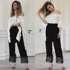 Get this look: http://lb.nu/look/8216239  More looks by Livia Auer: http://lb.nu/livia_auer  Items in this look:  Pinko Off Shoulder, Pinko Pants, Steve Madden Stecy Sandals   #chic #elegant #street #ootd #outfit #offshoulder #fashion #fashionblog #fashionblogger