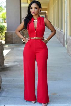 wholesale-stylish o neck sleeveless button design red qmilch one-piece jumpsuits (without Classy Outfits, Chic Outfits, Red Jumpsuit, Jumpsuit Style, Wholesale Clothing, Cheap Wholesale, Jumpsuits For Women, African Fashion, Womens Fashion