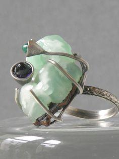 Ring | Tessa Rickard.  Sterling silver, smithsonite, amethyst, green chrysoprase.