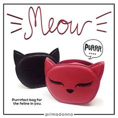 Meow! Primadonna Shoes Official Upper Ground Floor SM CITY STA. MESA can't help but purr over these sling bags.   Purrfect for the feline lovers out there!   #Primadonna #Primadonnaph #ILoveSM  #ILoveSMStaMesa  #EverythingsHere
