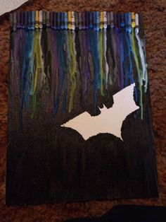 Batman melted crayon art I made for a Christmas present!