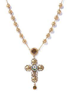 Filigree cross rosary necklace | Dolce & Gabbana | MATCHESFASH...
