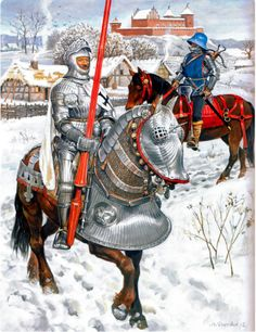 Teutonic Knights on the march in winter during the Northern Crusade