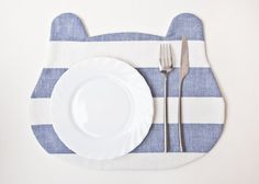 Placemat Bear strips Blue by JuliaWine on Etsy