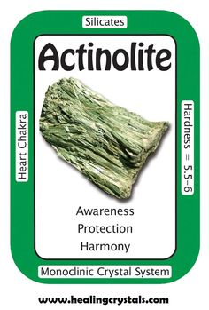 "Actinolite, ""I am surrounded by a protective shield of positive energy.""  Actinolite is a shielding crystal. It can heal the subtle energy body, filling in gaps that can result from psychic attack, illness, stress and unwanted negativity. It balances body, mind and spirit, enhancing higher awareness.   Code HCPIN10 = 10% off     Actinolite: http://www.healingcrystals.com/Actinolite_Articles_1325.html"