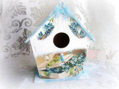 Decorative wooden birdhouse floral bird house by GattyGatty