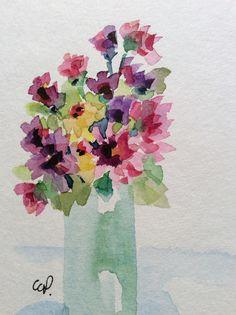 Florero de flores acuarela tarjeta / tarjeta acuarela pintada