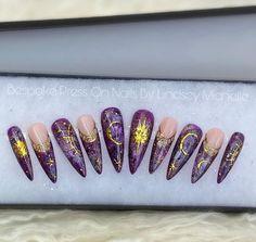 Stars moon and sun Bespoke custom Press on nails long | Etsy