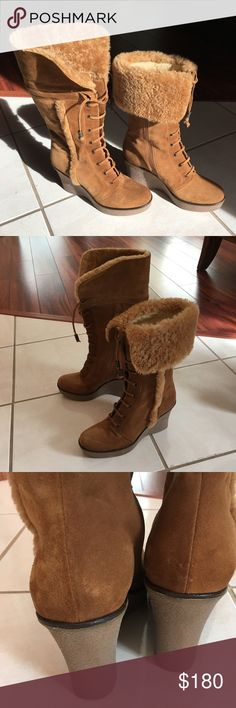Via Spiga Leather Boots Via Spiga Leather boots. Made in Italy. In like new condition, worn only once. Made with two different kinds of leather.  Can be worn folded down or up.  The wedge heels 3,5 inches. Size 6. Via Spiga Shoes Wedges