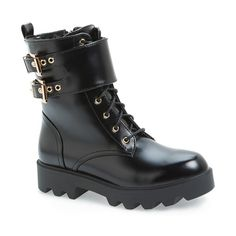 "N.Y.L.A 'Bryana' Combat Boot, 1 1/2"" heel (€140) ❤ liked on Polyvore featuring shoes, boots, ankle booties, ankle boots, black, lace up ankle boots, black lace up booties, black booties, leather ankle boots и platform booties"