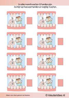 Vul de tanden aan tot 12, kleuteridee.nl , thema tandarts voor kleuter, Make up to twelve teeth, free printable.