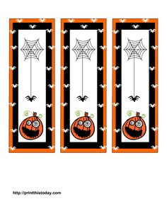 Spooky bookmarks with pumpkin and spider