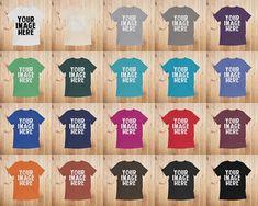 T Shirt Mockups Unisex Bella Canvas 3413 Flatlay Mockup Shirt Mock Up Stock Photo Wooden Background by 25VintagePlace