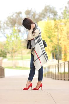 plaid cardigan red bow pumps fall outfit petite jeans, fall outfit idea, burberry plaid dupe sweater, petite fashion blog - click the photo for outfit details!