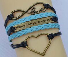 Infinity bracelet love heart bracelet time is by endlesslovegift, $5.99