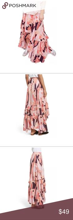 "$148 NEW Free People 'Bring Back Summer'Maxi Skirt New without tags. Retails for $148 + tax  Pink, floral print Fun and flirty  Maxi skirt Zips on side Lined   Size 10  Measures approximately: waist across 15.25""  High end department store shelf pull- new without tags. May have had customer contact *Defect- pulled/split seam next to the zipper along waistband. Easy repair if desired. Refer to photos.   PLEASE ASK ANY QUESTIONS BEFORE PURCHASE, THANKS CHECK OUT MY OTHER DESIGNER HANDBAGS AND…"