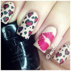 .@modnails | Mattified hearts, leopard print, and lips #notd #nailart #nailartoohlala