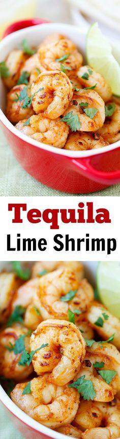 Tequila Lime Shrimp - shrimp with tequila, lime & cilantro! Crazy easy & budget friendly recipe, SO good and takes 15 mins to make! | rasamalaysia.com