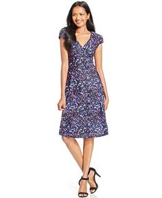 Style&co. Cap-Sleeve Abstract-Print Dress, Only at Macy's - Dresses - Women - Macy's