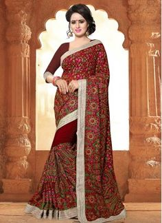 Maroon Embroidered Work Faux Georgette Classic Designer Saree Shop online at your ease and pick buy designer bridal sarees online of your choice. It is no more an attire, but it now represents Indian culture, Indian fashion, and Indian women. Explore stunning bridal sarees for women at Indians Fashion.  What are you waiting for! Start browsing through our vast reception sarees for bride collection and fill up your shopping cart because we are ready to ship!