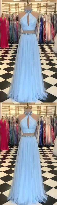 Light Blue Beaded Prom Dress,High Neck Two Piece Prom Dresses,Split Formal Dress,Blue Evening Dresses M2781