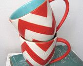 cheveron mugs // cheerful, love the inside pop of color! #mugs #chevron #cheery
