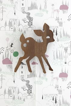 Ferm Living's My Deer wall lamp is designed by Anne Wendlandt. The My Deer wall lamp by Danish Ferm Living creates pleasant ambience to any kids' room. Ferm Living Wallpaper, Kids Wallpaper, Modern Wallpaper, Designer Wallpaper, Wallpaper Ideas, Bambi, Deer Lamp, Plug In Wall Lights, Rain Wallpapers