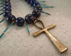 Egyptian Inspired, Lapis Lazuli, Egyptian Necklace, Ankh Pendant, Ankh Necklace, Lapis Lazuli jewelry, Blue necklace, Talisman, Gold jewelry - pinned by pin4etsy.com