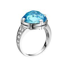 Bulgari Parentesi Blue Topaz Ring with Diamond in 18k white gold with pavé diamonds. Diamonds weighing 0.27 total carats.