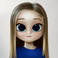 Cartoon, Portrait, Digital Art, Digital Drawing, Digital Painting, Character Design, Drawing, Big Eyes, Cute, Illustration, Art, Girl, Lussi, Straight Hair
