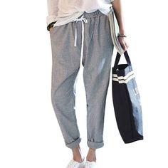 New Fashion Pants Women Cotton Haram Pants Striped Casual Trousers Women's Pants Gray Calcas femininas Slim Fit Plus Size S-2XL