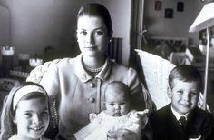 Princess Grace of Monaco with little Caroline, Stephanie & Albert
