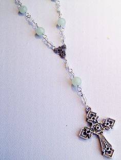 New Jade Rosary Style Necklace by Bluebirdsanddaisies on Etsy, £14.00