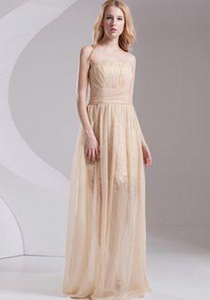 A line Strapless Floor Length Chiffon Natural Waist Evening Dress With Front Slit - 1300305995B - US$199.99 - BellasDress