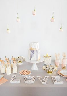 A Marble-Inspired Dessert Table with M&M'S …