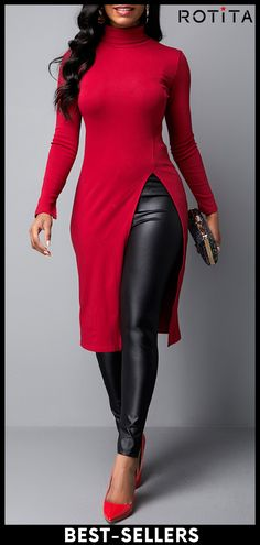 Side Slit Long Sleeve Red T Shirt Women Clothes For Cheap, Collections, Styles Perfectly Fit You, Never Miss It! Trendy Fashion, Fashion Outfits, Fashion Clothes, Fall Fashion, Stylish Tops For Women, Long Tops, Sweater Fashion, Casual Dresses, Trendy Dresses