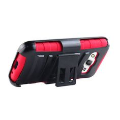 SAMSUNG GALAXY CORE PRIME/G360,BLACK/RED HYBRID RUGGED PLASTIC BELT CLIP CASE